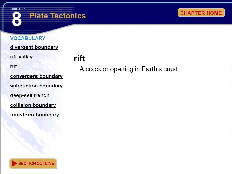 8 Plate Tectonics rift A crack or opening in Earth's crust.