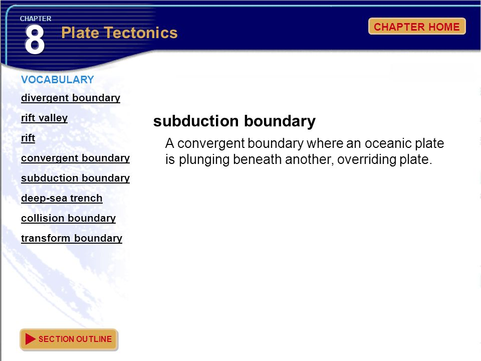 8 Plate Tectonics subduction boundary