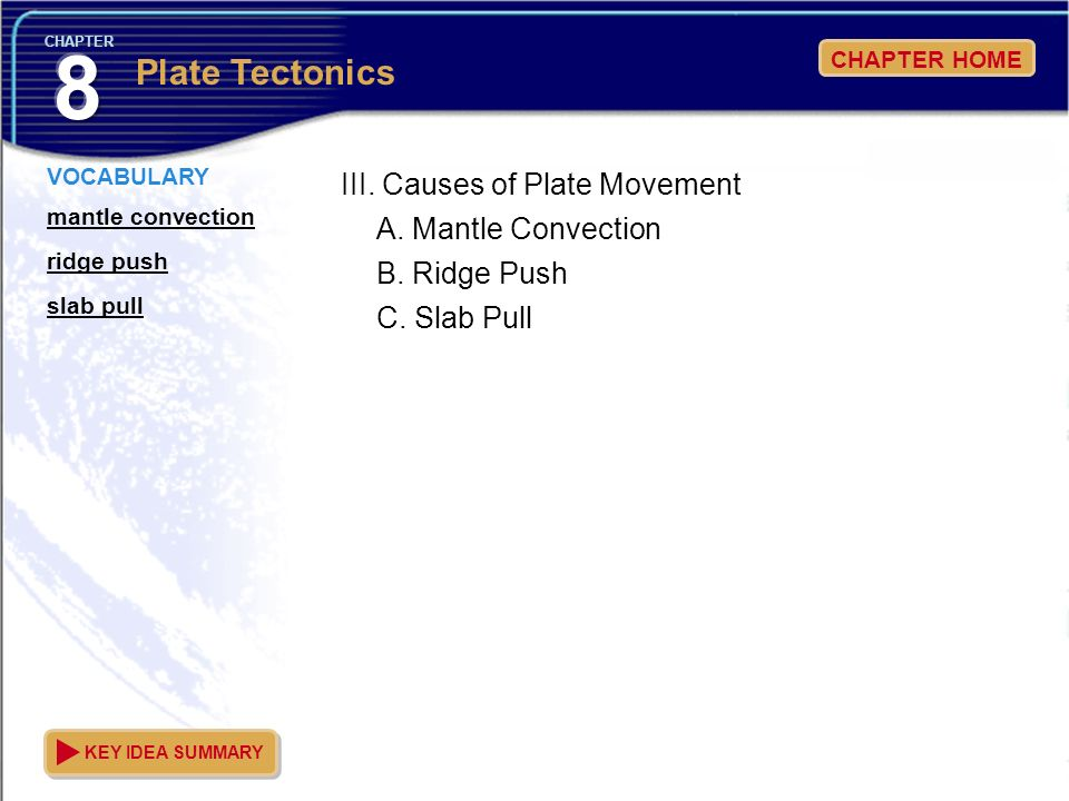 III. Causes of Plate Movement
