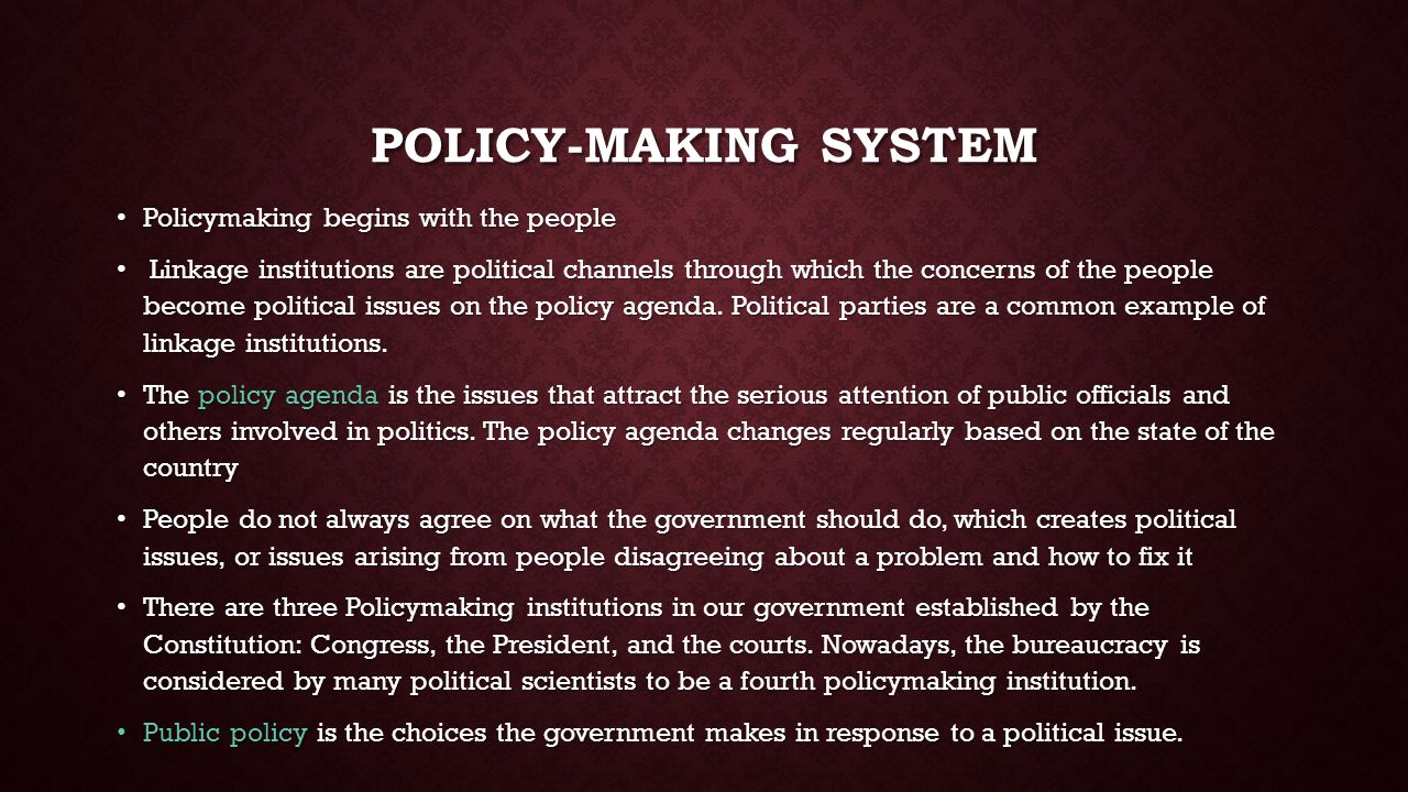policy-making in the federal system essay Policy-making in the federal system essay the us government's expansive role in public policy iscaught in a swirl of conflicting cross-currents on the.
