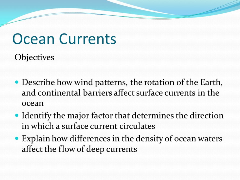 Ocean Currents Objectives