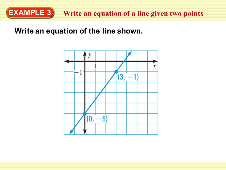 write the equation of a line given two points Writing algebra equations finding the equation of a line given two points we have written the equation of a line in slope intercept form and standard form we have also written the equation of a line when given slope and a point.