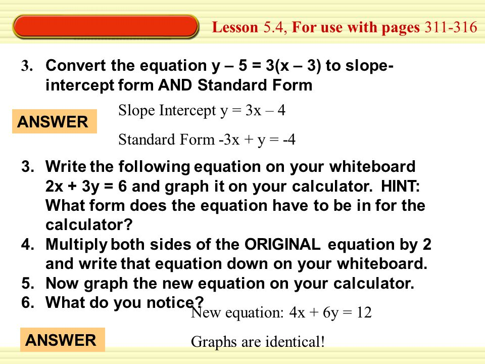 Slope Intercept To Standard Form Calculator Bogasrdenstaging