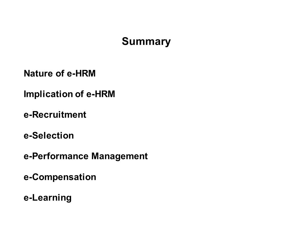Evaluating hr effectiveness ppt video online download summary nature of e hrm implication of e hrm e recruitment e nvjuhfo Images
