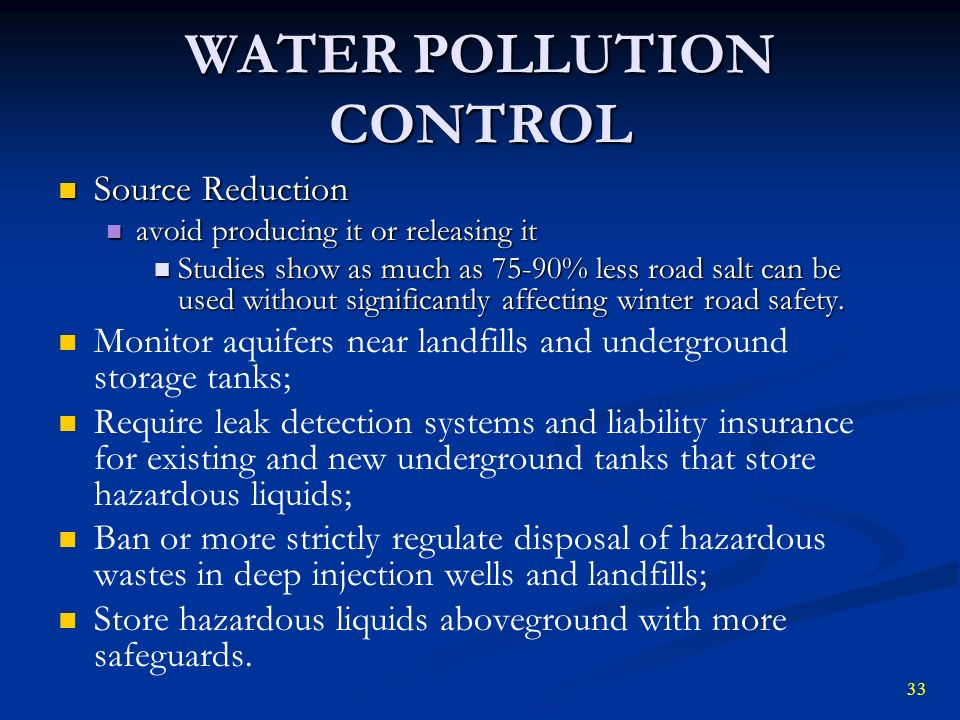 a study on water pollution sources and control Opportunity to study the economics of agricultural nonpoint source  control of point sources of water pollution in the 1970's  agricultural pollution control.