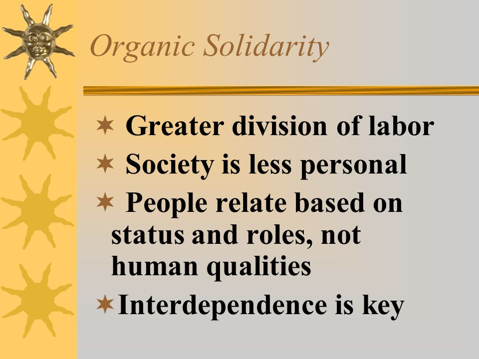 Organic Solidarity Greater division of labor Society is less personal