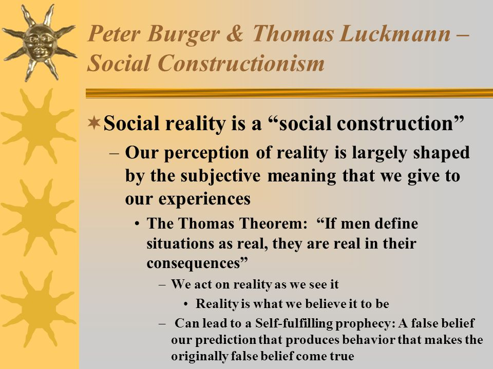 Peter Burger & Thomas Luckmann – Social Constructionism