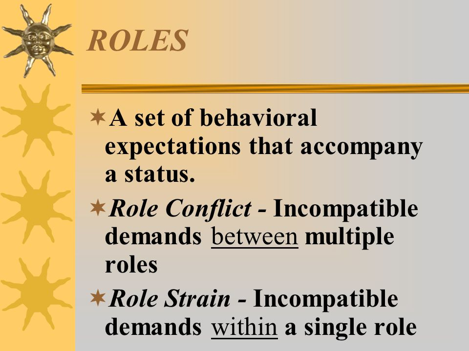 ROLES A set of behavioral expectations that accompany a status.
