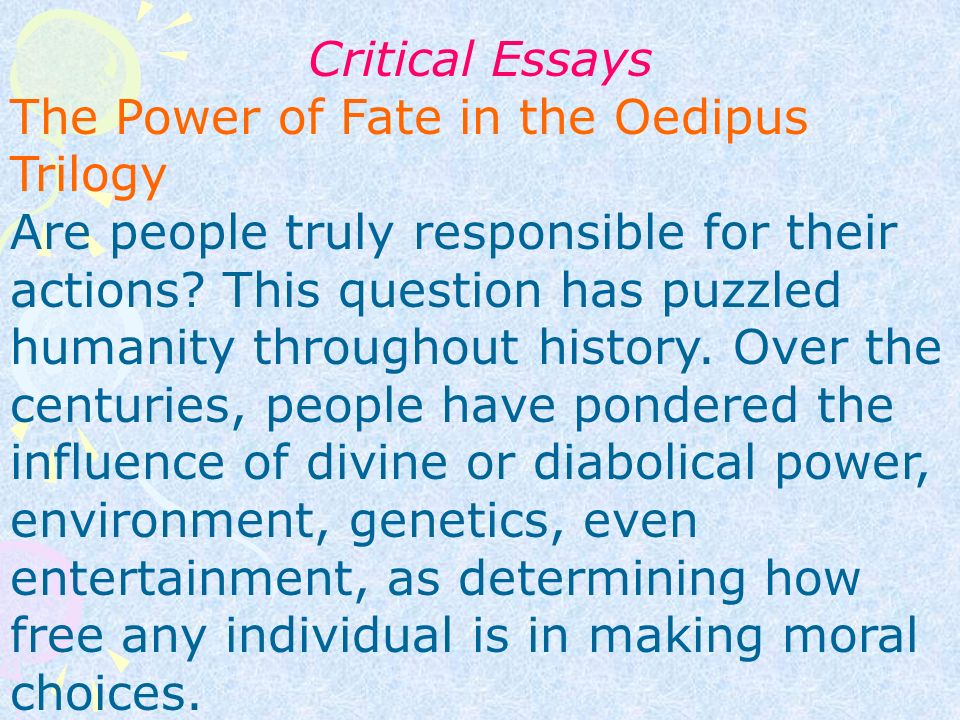 oedipus essays fate Oedipus and His Fate