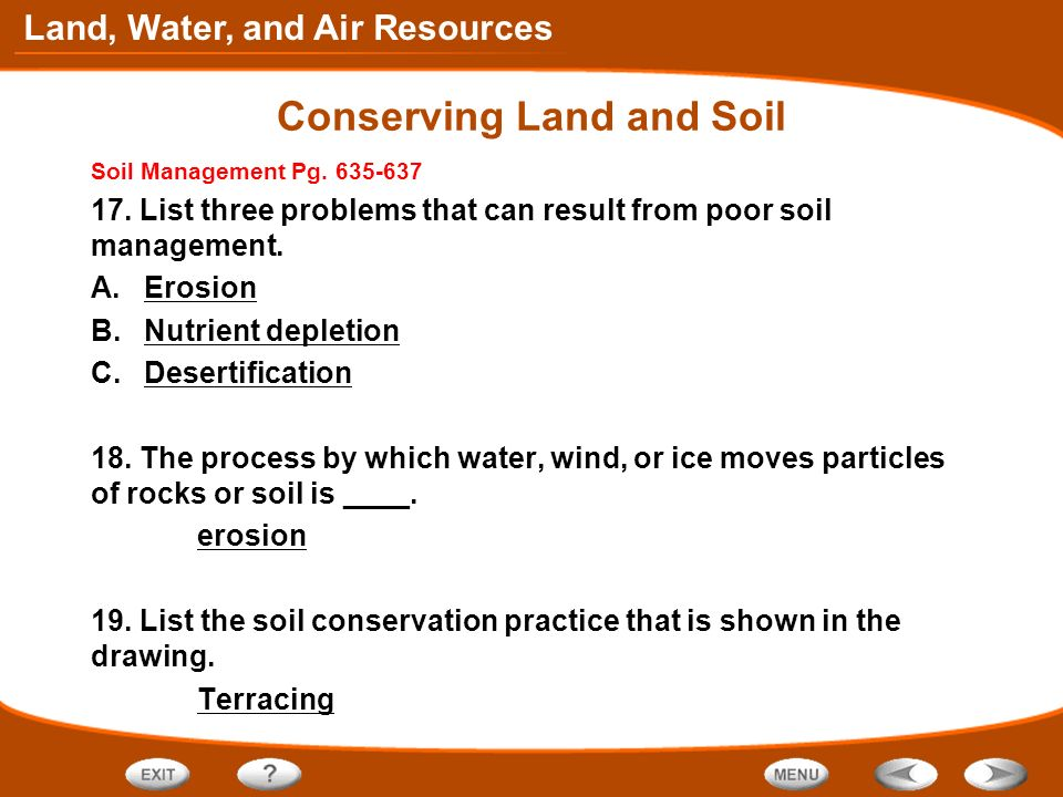 Table of contents conserving land and soil ppt video for Soil use and management
