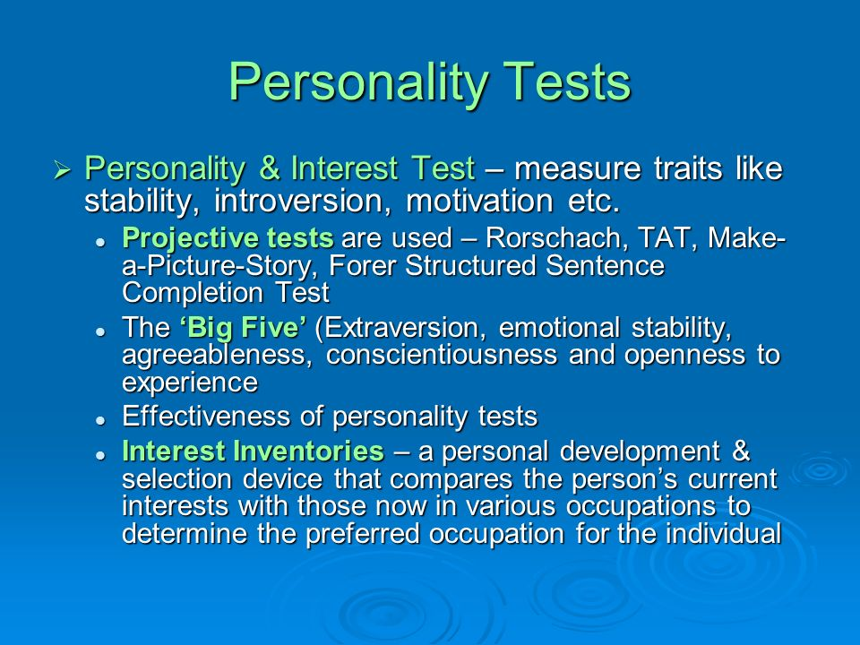the personality and interest assessment 4 types of assessments: interest assessments  the personality test produces a brief summary of the user's temperament and career options matching the personality .