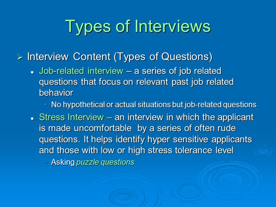 type of job interviews