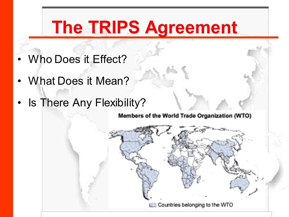 the effect of trips agreement on Trips agreement and  trips is a comprehensive agreement containing new multilateral rules and  this means, in effect, that.