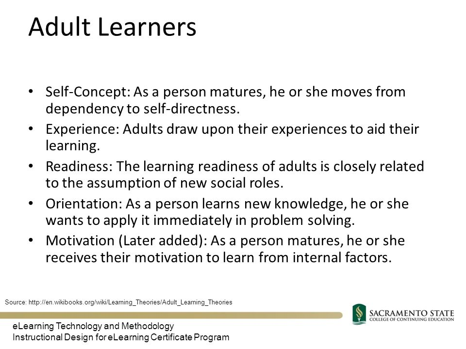 four key factors related to adult learning Centre for teaching excellence » resources » teaching tips this teaching tip outlines key components of four key stages to step 4: evaluate learning.