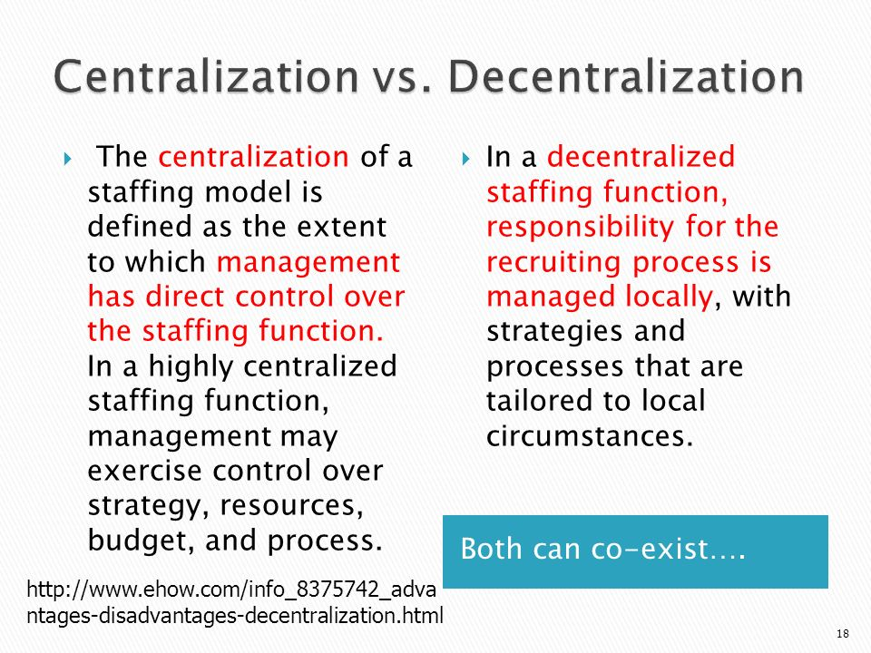 centralized staffing function and a decentralized staffing function What is the difference between a centralized staffing function and a decentralized staffing function.