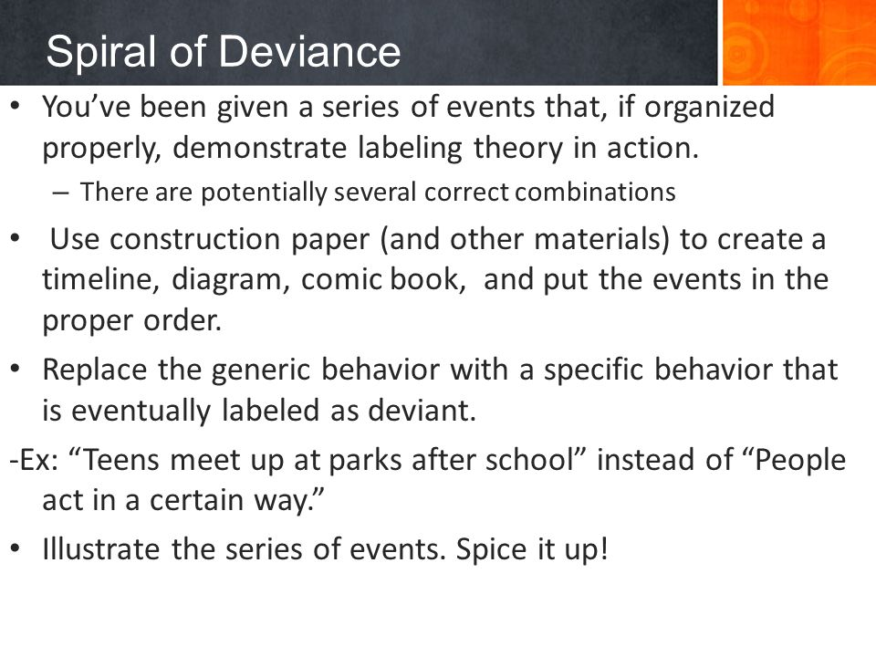 labeling theory of deviant behavior Labeling theory is the theory of how the self-identity and behavior of individuals may be determined or influenced by the terms used to describe or classify them it is associated with the.