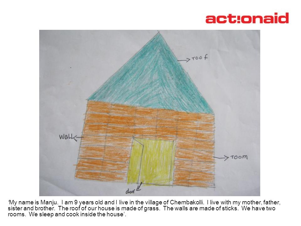 Manju's drawing of a thatched roof house