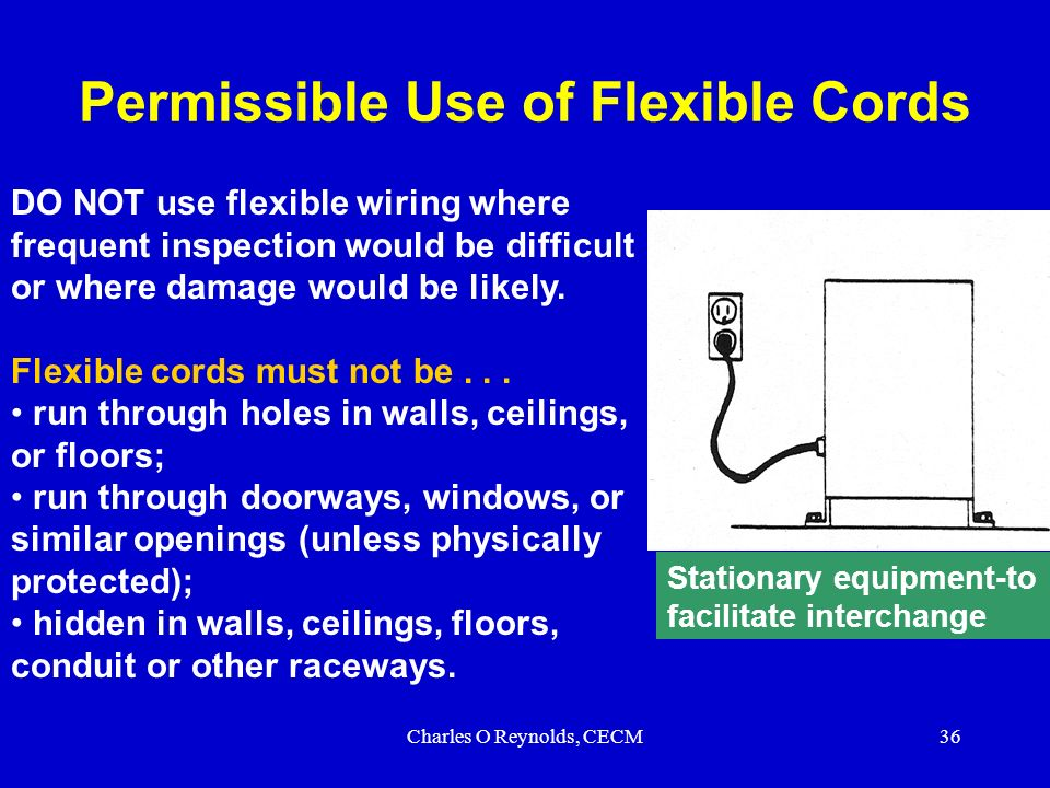 Electrical safety subpart s ppt download permissible use of flexible cords publicscrutiny Choice Image