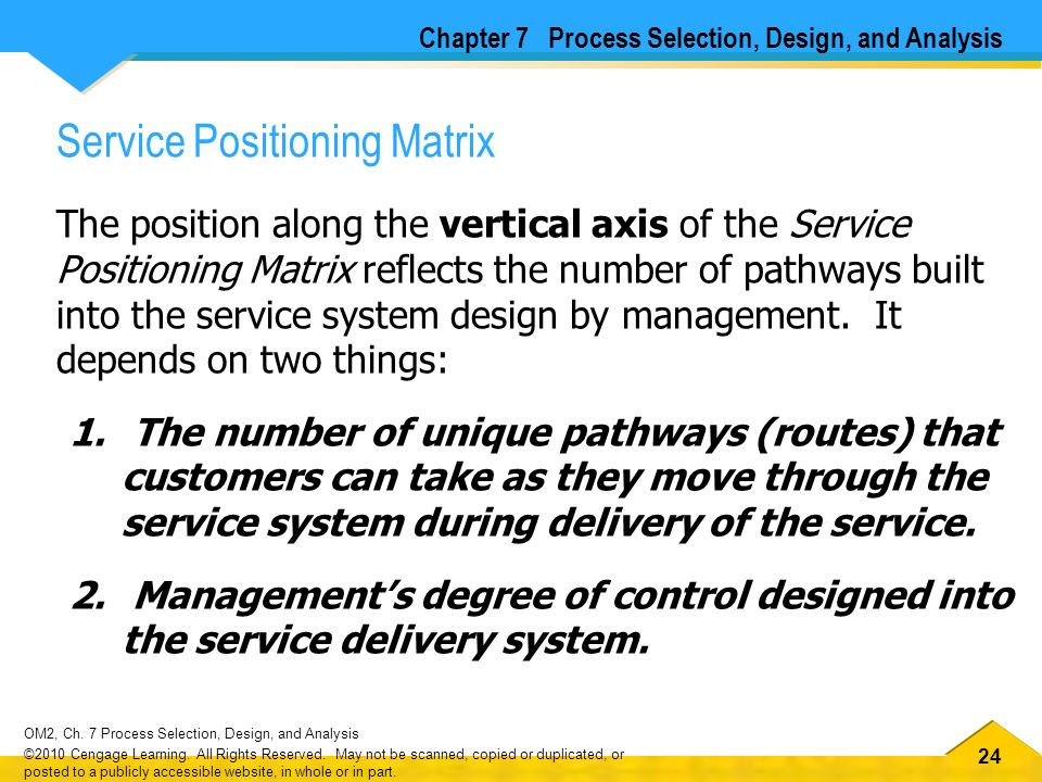 a service positioning matrix The service design of the process design of the product design of  matrix has consequences for cost and flexibility  by process positioning none none.