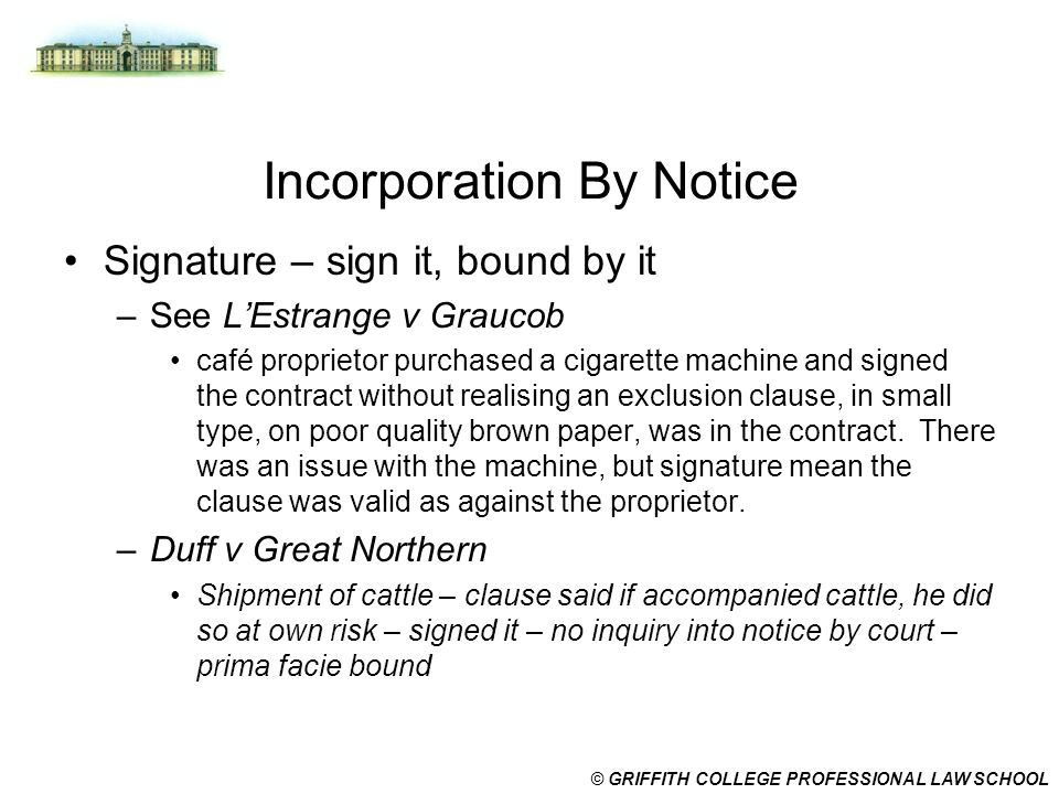 Incorporation into contracts by signature