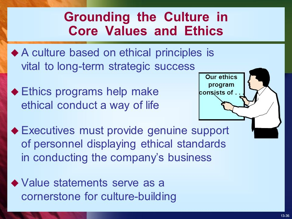 business leadership ethical values and corporate 12 ethical principles for business executives : ethical values, translated into active language establishing standards or rules describing the kind of behavior an ethical person should and should not engage in, are ethical principles  ethical executives are conscious of the responsibilities and opportunities of their position of leadership.