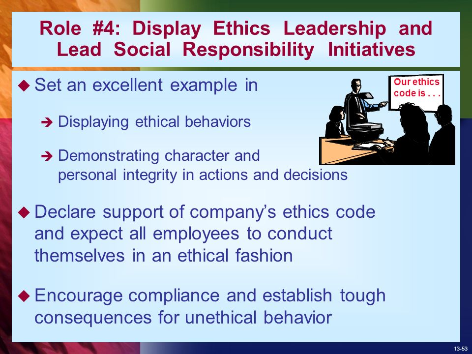 code of ethics roles and behaviors Those utilizing counseling services and establishes expectations of conduct with a primary emphasis on the role of  the aca code of ethics  ethical behavior and.