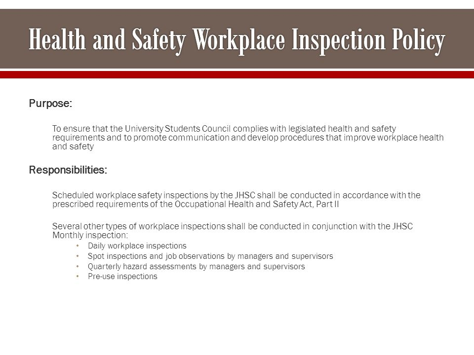 procedures for communicating health and safety This manual provides information about policies, procedures, and guidelines related to health and safety at stanford topics covered include responsibilities, services provided by the department of environmental health and safety (eh&s), a variety of topics related to workplace safety (eg asbestos, ergonomics), the management of hazardous materials, and how to prevent and handle emergencies.