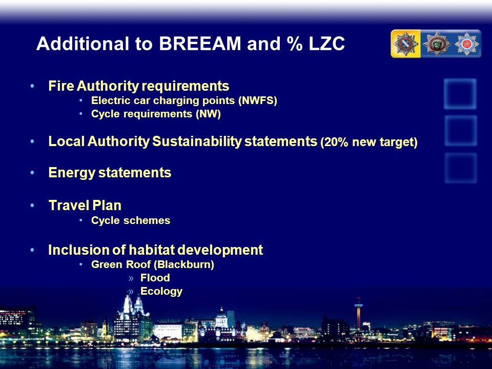 Additional to BREEAM and % LZC