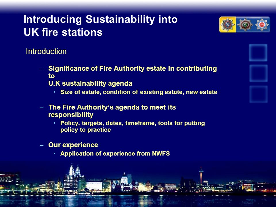 Introducing Sustainability into UK fire stations
