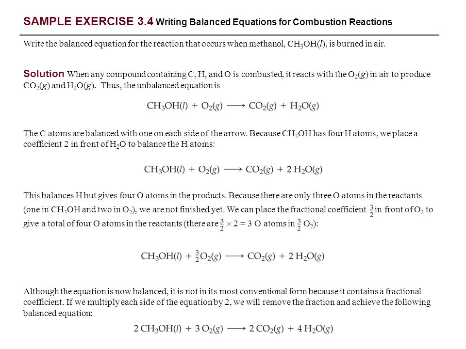 SAMPLE EXERCISE 3.1 Interpreting and Balancing Chemical Equations ...