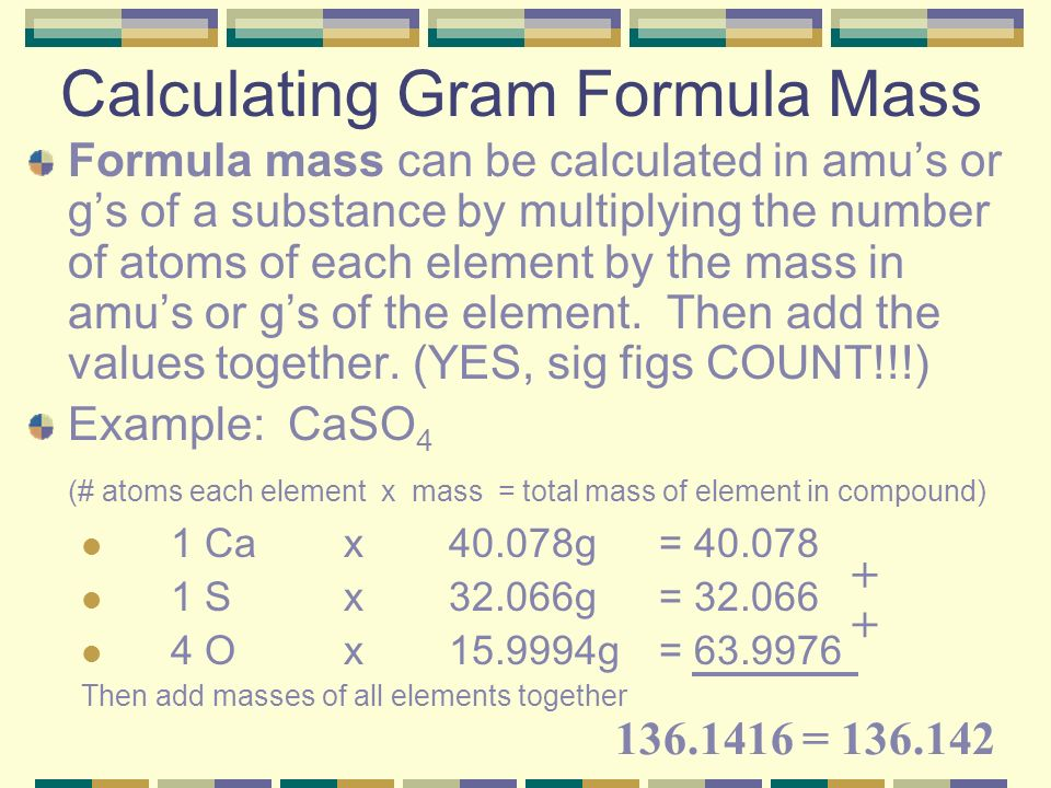 how to find gram formula mass of a compound