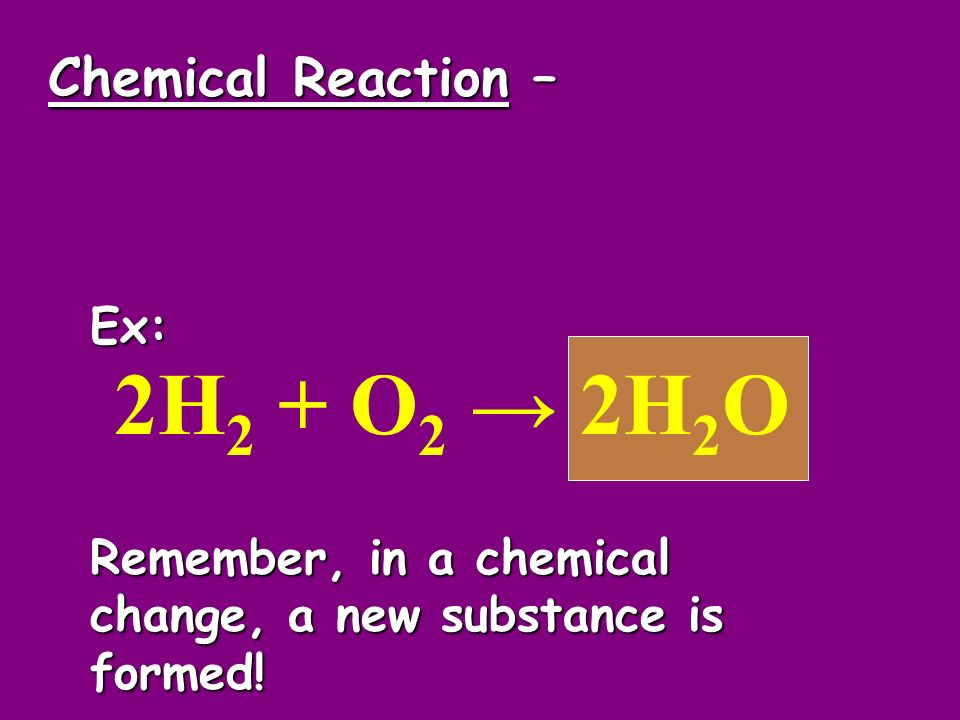 2H2 + O2 → 2H2O Chemical Reaction – Ex: