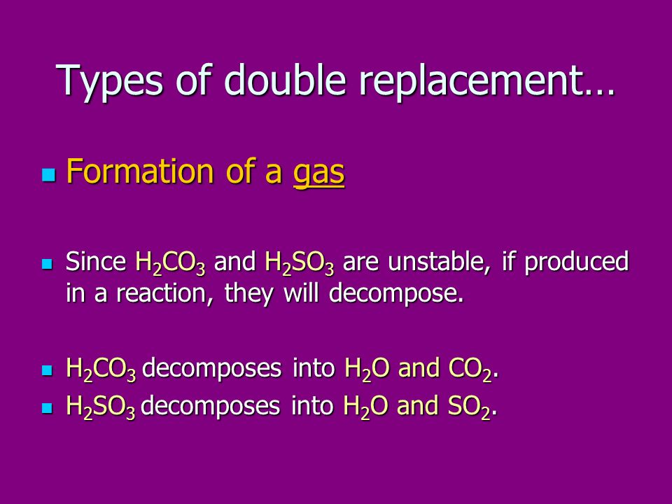 Types of double replacement…