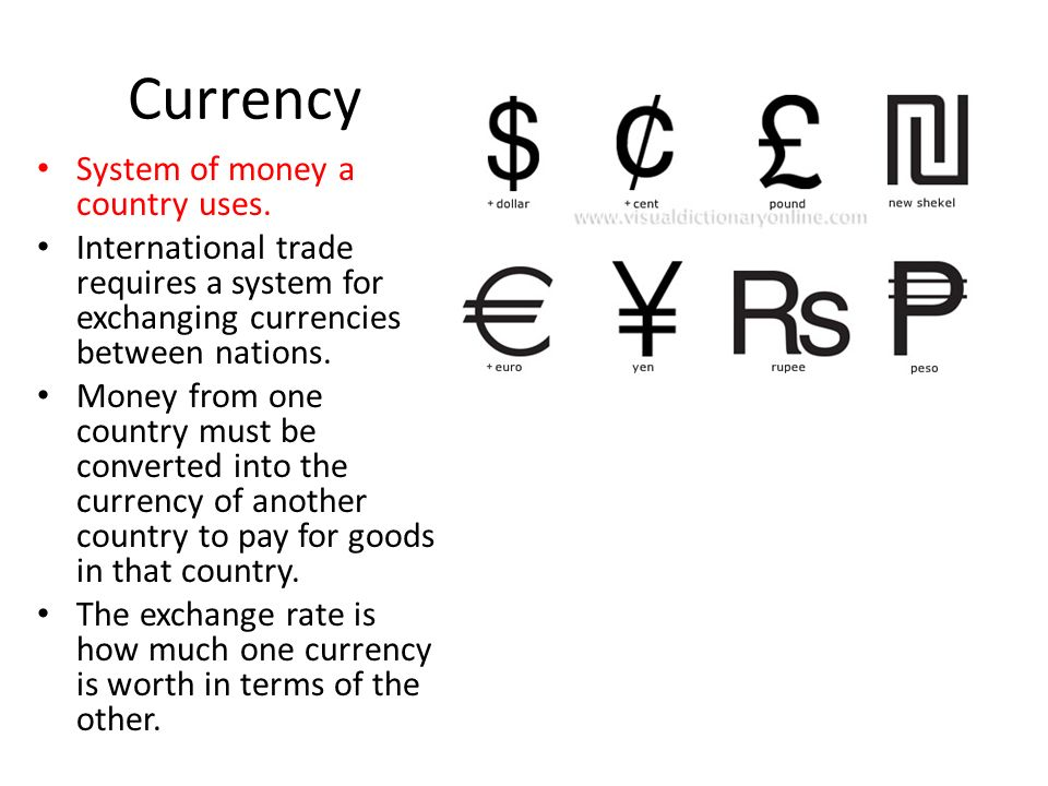 Currency System of money a country uses.
