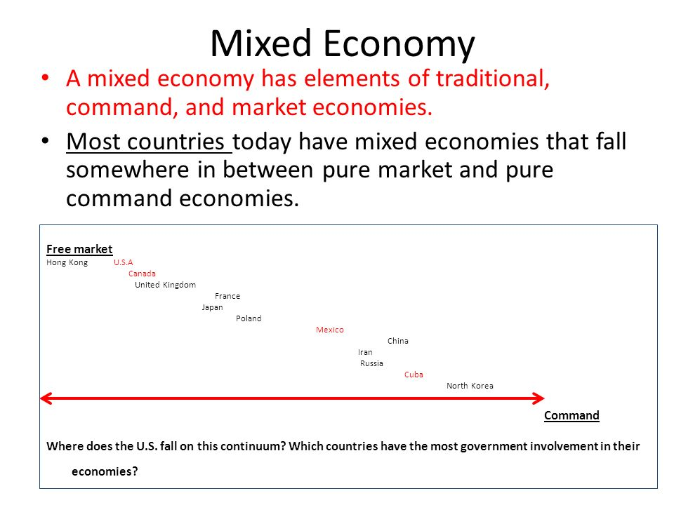 Mixed Economy A mixed economy has elements of traditional, command, and market economies.