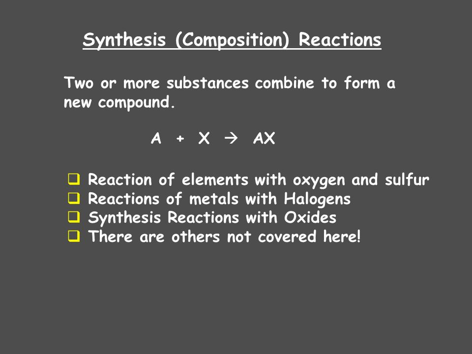 Synthesis (Composition) Reactions