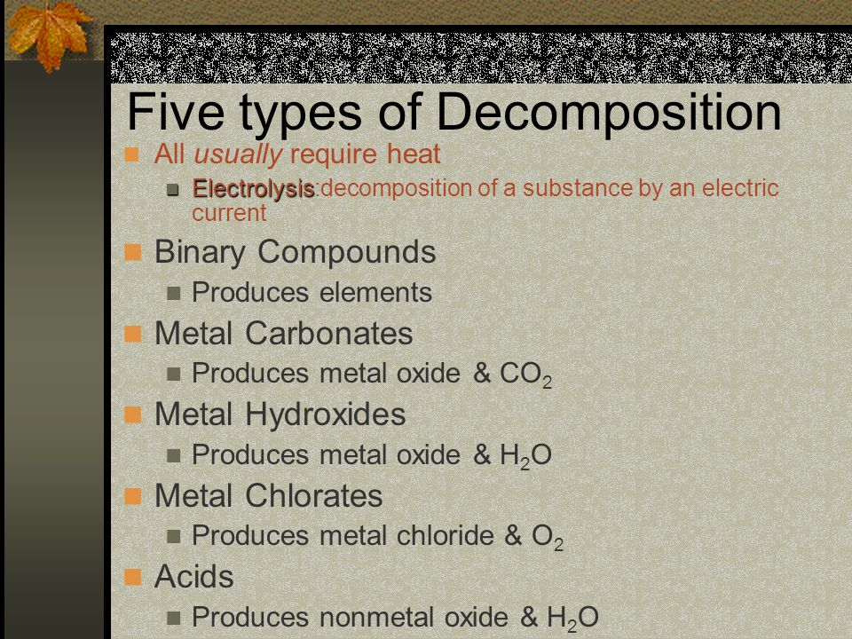 Five types of Decomposition