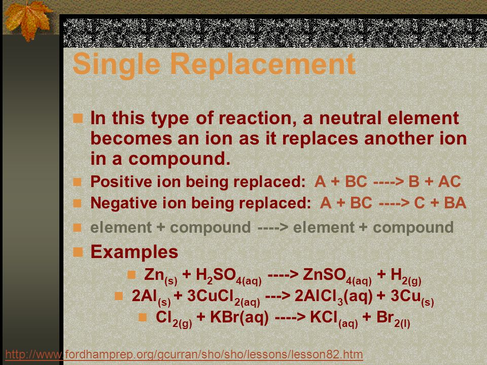 Single Replacement In this type of reaction, a neutral element becomes an ion as it replaces another ion in a compound.
