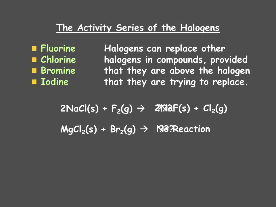 The Activity Series of the Halogens