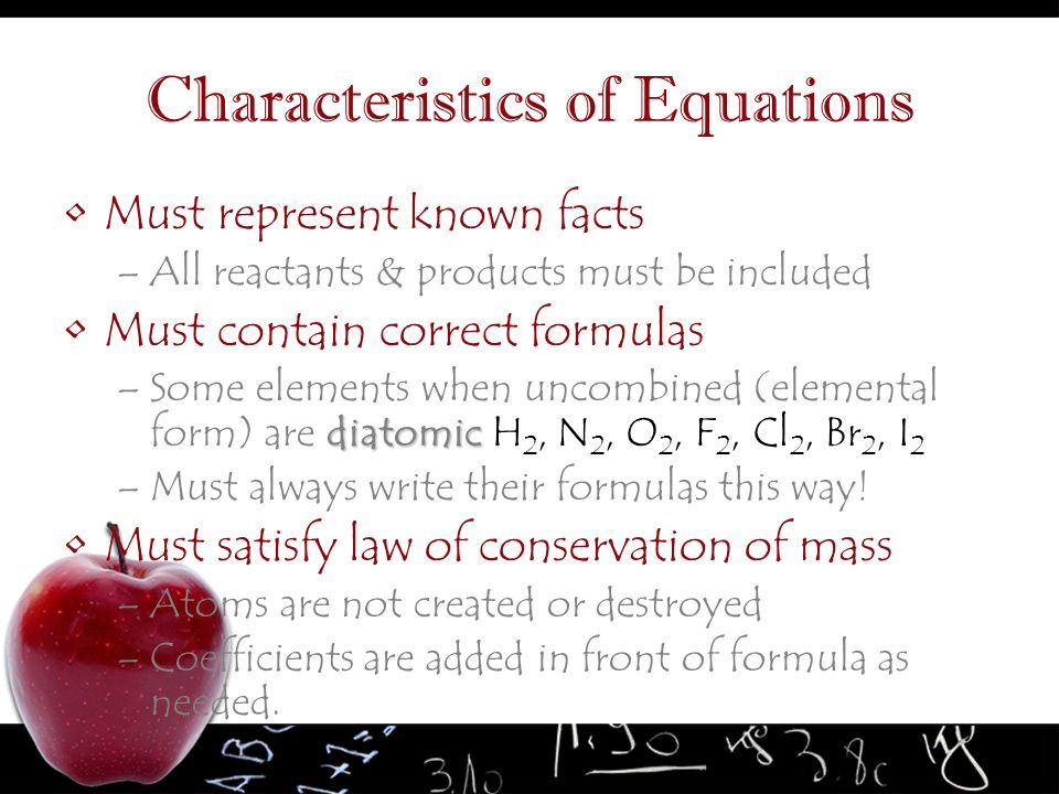Characteristics of Equations
