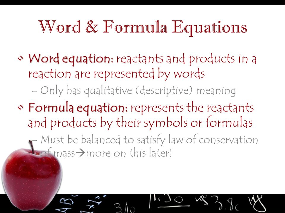 Word & Formula Equations