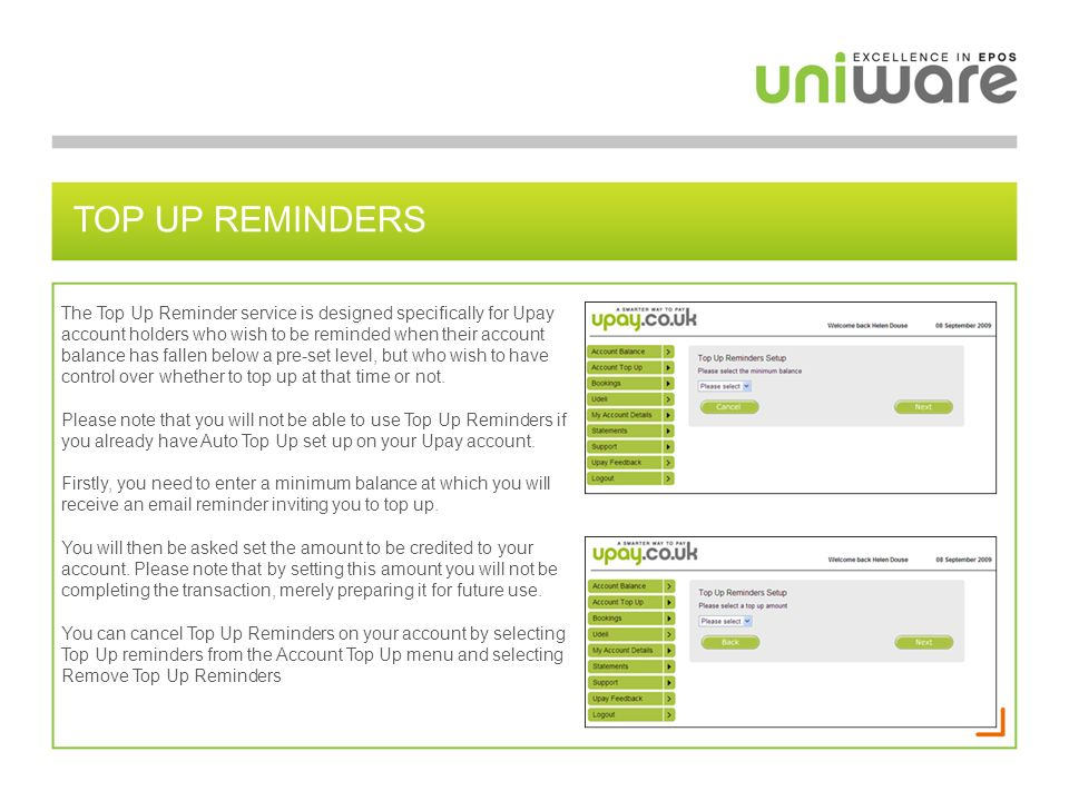 Top up reminders