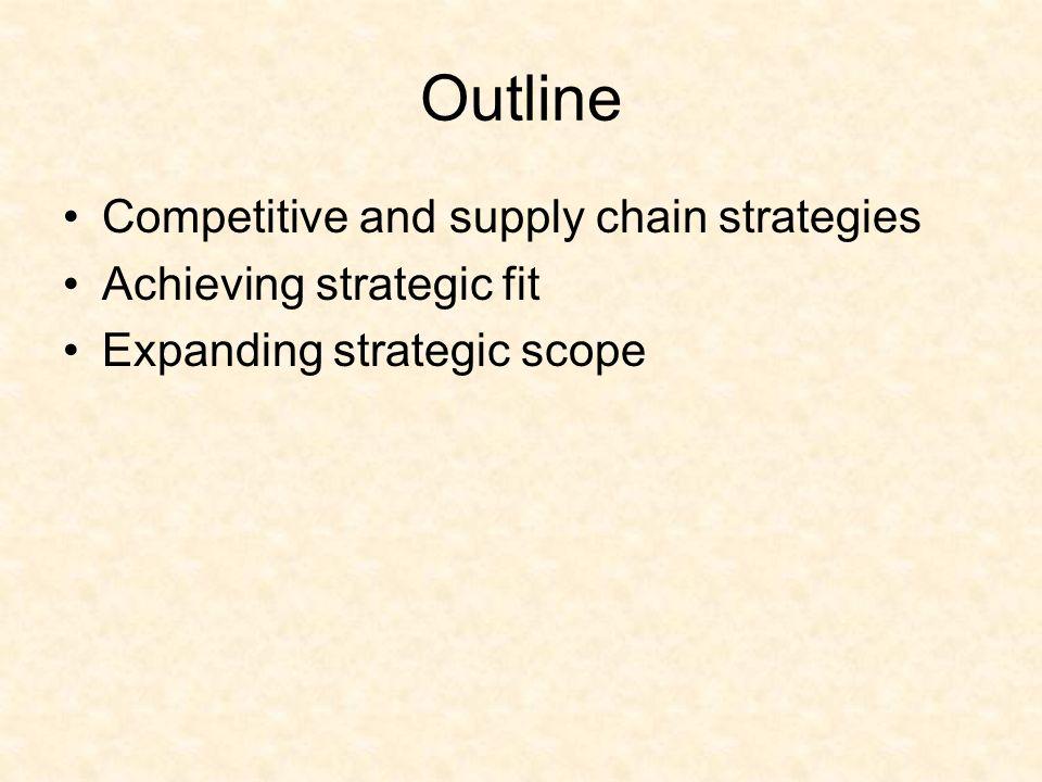 competitive and supply chain strategies What is strategic fit - in a business scenario strategic fit means aligning  supply chain strategy with competitive strategy companies build a.