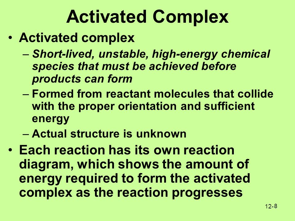 how to find energy of activated complex