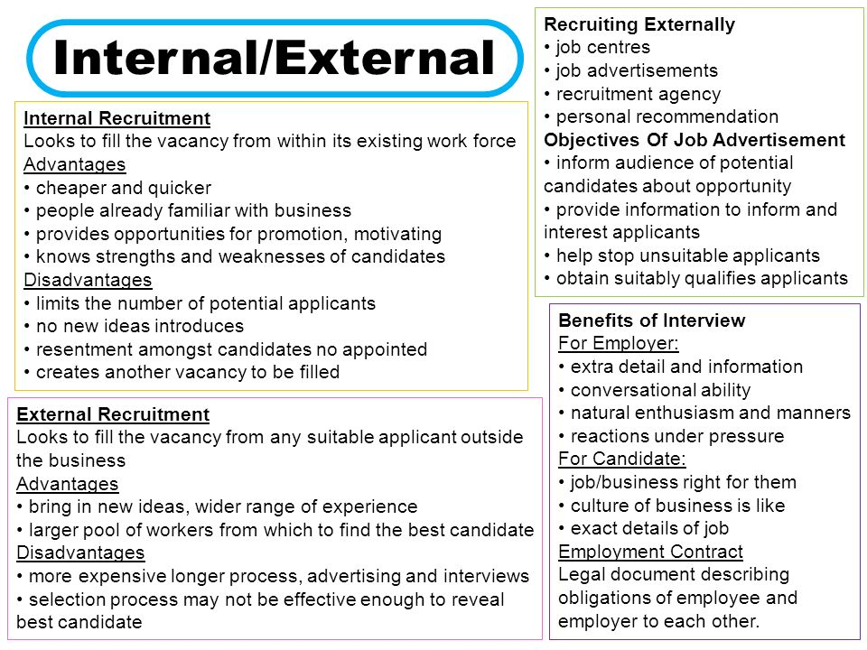advantages of internal and external recruitment business essay In the external recruitment process, there will be a chance of facing a better competition in terms of hiring a new talent external recruitment creates an environment for healthy competition in between internal employees and external members, who are supposed to be more trained and efficient.
