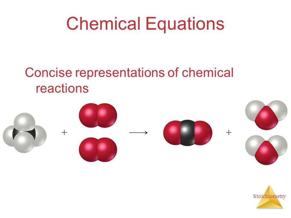 chemical equations and reactions When you write an equation for a chemical reaction, the two sides of the equation should balance — you need the same number of each kind of element on both sides.