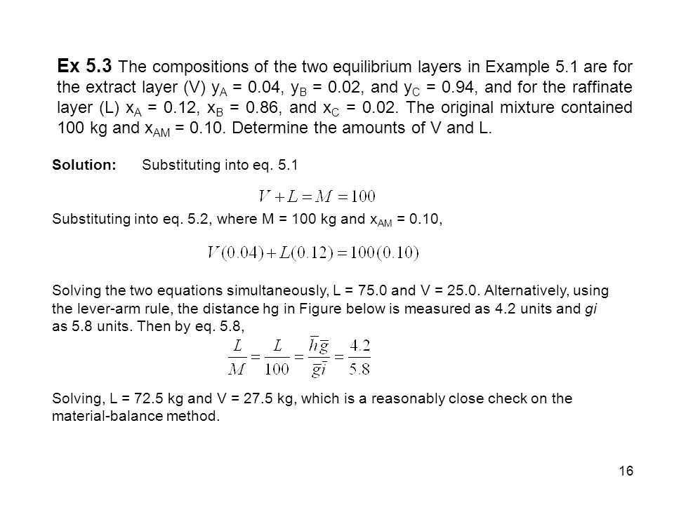 Ex 5. 3 The compositions of the two equilibrium layers in Example 5