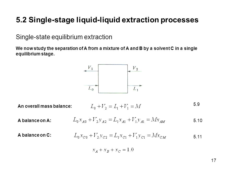 5.2 Single-stage liquid-liquid extraction processes