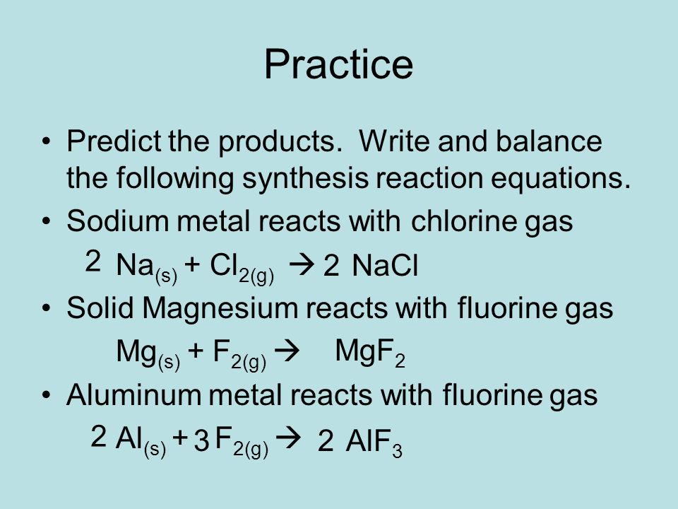write equations for the following reactions pdf