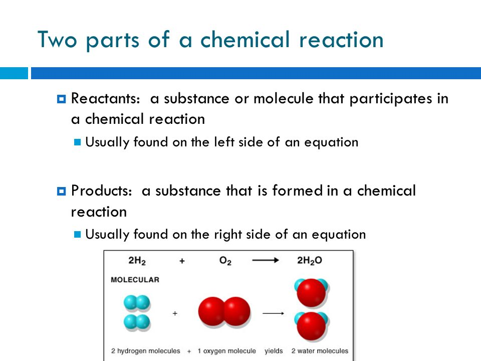 Two parts of a chemical reaction